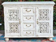White Mandala Carved Shabby Chic French Country Sideboard Cabinet Buffet
