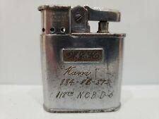 WW II Vintage Working RONSON Whirlwind Cigarette Lighter, 118th N.C.B. D-6, 1944