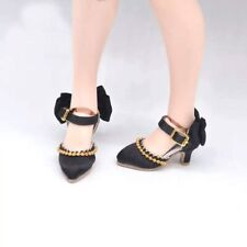 Blythe Doll Black High Heel Sandals Shoes With Bow And Gold Beading. 🇬🇧
