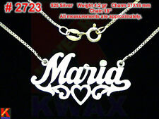 MARIA Personalized 925 Sterling Silver Name Necklace Handcrafted Custom Pendant