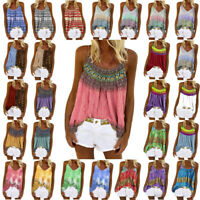 Summer Strappy Womens Tank Shirt Tee BOHO Ladies Vest Blouse Casual Holiday Top