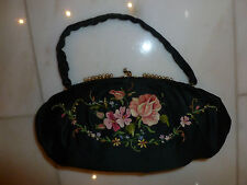 Vintage Black Satin Abendtasche,Tambour Stickerei, vergoldeter Rahmen mit Perlen