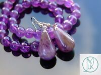Amethyst Natural Gemstone Earrings Drop Quartz Crystal Chakra Healing Stone