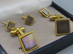 MENS CUFFLINKS MAUVE MOTHER OF PEARL W/ BUTTON Display Box Vintage Jewelry DB164