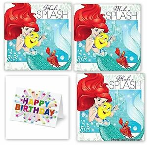 Little Mermaid Party PACK Birthday Napkins Cake Ariel Princess 48PC Plus CARD NW