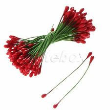 100Pcs Red Artificial Flower Stamens Double Sided Plastic Wire Wrapped DIY Craft