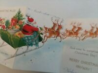 1964 Vtg SANTA REINDEER SLEIGH Across Miles Stow Away CHRISTMAS GREETING CARD