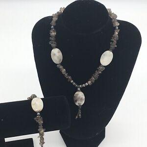 Smokey Quartz And Glass Grey Necklace Bracelet Set Toggle Clasp