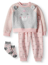 Duck Duck Goose Baby Girls Quilted Sweatshirt/Joggers & Socks 3pc Set 6-9 Months