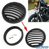 """Black Motorcycle 4.5"""" Headlight Grill Guard Cover Protector For Harley Sportster"""