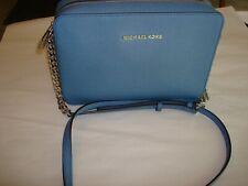 Michael Kors Jet Set Leather Saffiano Crossbody Bag East West Denim Blue $148