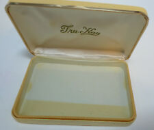 Vintage Tru-Kay Clam Shell Leather Jewelry Case Box Hinges Shut