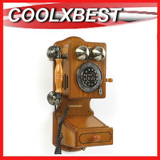 CROSLEY COUNTRY WALL HOME PHONE OAK WOOD ANTIQUE VINTAGE REPLICA CORDED  (RFB)