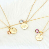 Simple Fashion 26 Letter Birthstone Necklace Pendant Gold Plated Chain Jewelry