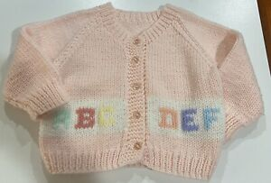 Vintage~Hand-Knit~Toddler Girl~Button Up Cardigan~Pastel Pink~3T~