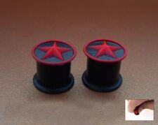 PAIR STAR 0G 8MM SOFT SILICONE BLACK/RED PLUGS PLUG 2D RAISED STAR