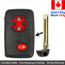 1x- New Replacement Keyless Key Fob For TOYOTA PROXIMITY REMOTE Key Blade Only