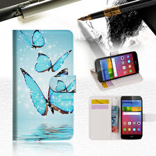 Cyan Butterfly Wallet Case Cover for Huawei Ascend Gr5 2017 A019