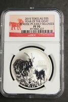 2015 - Tokelau S$5 Year of the Goat - Reverse Proof NGC PF 70 - 1 oz Silver .925