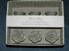 Maison Bleue Grey Ceramic Rose Cabinet Knob / Drawer Pull Set of 6