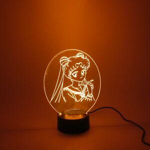 Sailor moon 3D night light. Kids Bedroom Decor 16 colors