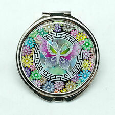 "Colorful big butterfly mother of pearl makeup 65 mm/2.60"" compact mirror"