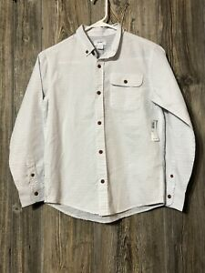 Old Navy White Collared Long Sleeve Button Down Shirt Youth Boys L 10/12 NWT