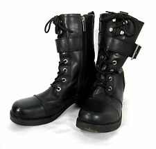 HARLEY DAVIDSON Motorcycle Buckle Lace up Boots Size 9.5 Solid Black
