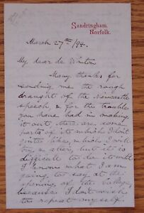 LETTER PRINCE GEORGE DUKE OF YORK KING GEORGE V 1894 SIR FRANCIS DE WINTON
