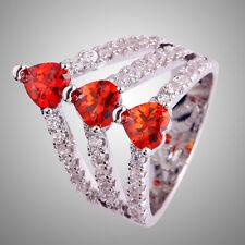 Size L N P R T V AAA Garnet & White Topaz Gemstone Silver Ring Heart Cut Elegant