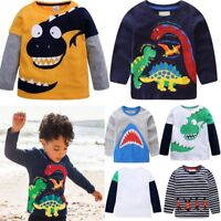 Children Kids Boys Long Sleeve Pullover  Cotton T-shirt Baby Outfits Top Clothes