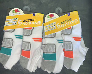 Fruit of The Loom Boys No Show Socks 12 Pair Size LARGE 3-9 NEW White Red Blue