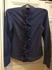 Women Long Sleeve Blouse Ruffle Front Shirt Ladies Chiffon Top Size M