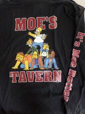 The Simpsons Moe's Tavern Men's Black Cotton Long Sleeve T-Shirt Size M NWT