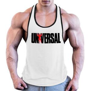 GYM Men's Gym Workout Bodybuilding Printed Muscle Stringer Y Back Fitness Tank
