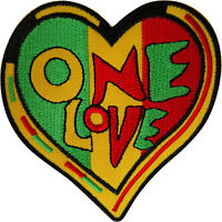 Rasta Heart Patch Iron Sew On Reggae Music Embroidered Badge Embroidery Applique