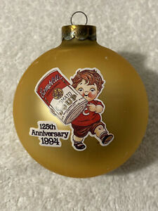 """Vintage 1994 125TH ANNIVERSARY CAMPBELL'S KIDS GLASS ORNAMENT w/ Orig Box 3"""""""