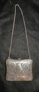 1880s R. Blackinton Northwind Solid Sterling Silver Evening Purse +Chain Nouveau