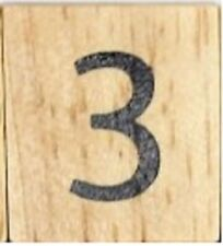 INDIVIDUAL WOOD SCRABBLE TILES! 8 FOR $2, OR 25 CENTS PER TILE. NUMBER 3 three