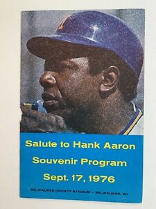9/17/76 Milwaukee's Salute to Hank Aaron Souvenir Program at County Stadium