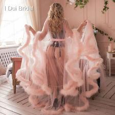 Feather Robe Bridal Boudoir Robe Pink Sheer Tulle Long Birthday Wear Gift