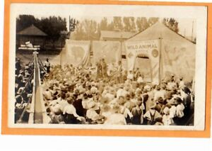 Real Photo Postcard RPPC - Circus Wild Animal Sideshow and Crowd
