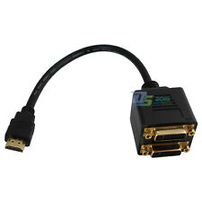 HDMI Male to Dual 2 DVI-I (24+5) Female Digital Monitor Splitter Adapter Cable