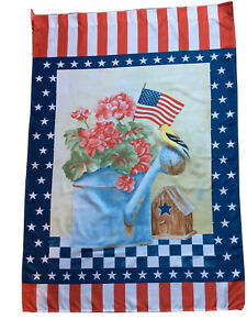 "GOLDFINCH ON WATERING CAN PATRIOTIC New Large Decorative House Flag "". 28 x 40"""