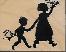 HERO ARTS rubber stamp MUSICAL WALK wood mounted Children Silhouettes