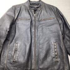 VTG MERONA Racer Motorcycle Jacket Genuine Leather Brown Full Zip Coat Large