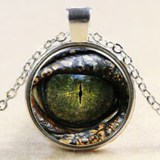 Vintage Cabochon Tibetan Silver Glass the eye serpent Chain Pendant Necklace