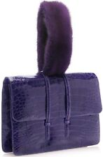 $3500 NEW Nancy Gonzalez MINK FUR & Shiny CROCODILE Clutch Bag Dark Purple