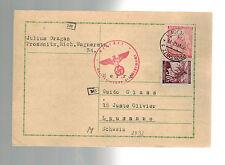 1942 Prossnitz Bohemia Moravia Postcard Cover Guido Glass Switzerland Mail drop