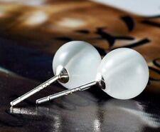 Weißer Opal Kugel Ball Perlen Ohrstecker aus echt 925 Sterlingsilber - 6/8/10mm